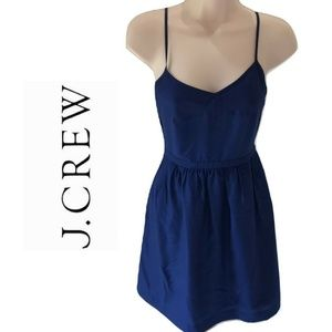 J Crew 00 Blue Skater Sundress Solid Casual Cute